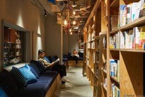 Kitap temalı bir otel ve içinde; ahşap kitaplıklar, koltuklar, kitaplıklar içinde yataklar, yanında 5000 kitap.. Daha ne olsun?