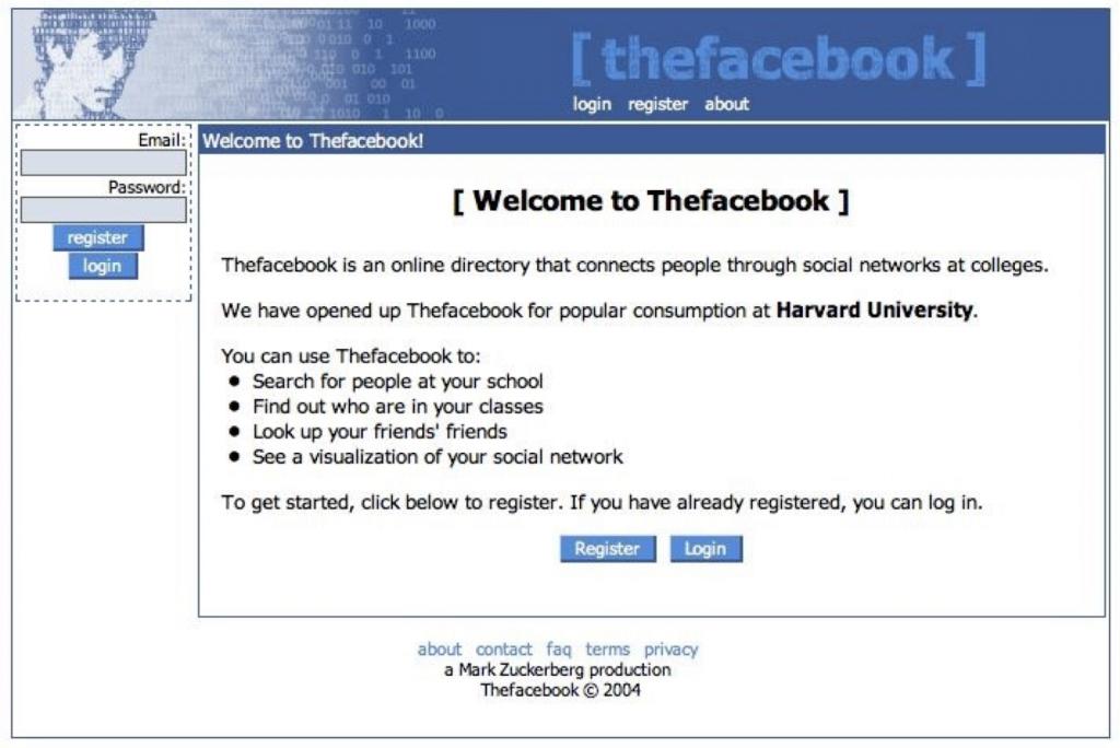 Facebook'un İlk Hali